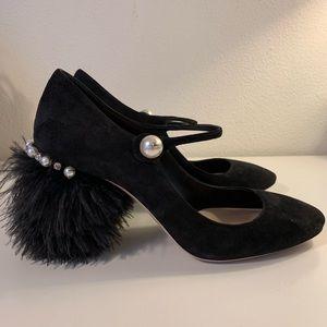 Miu Miu Black Suede Feather Pearl Mary Janes
